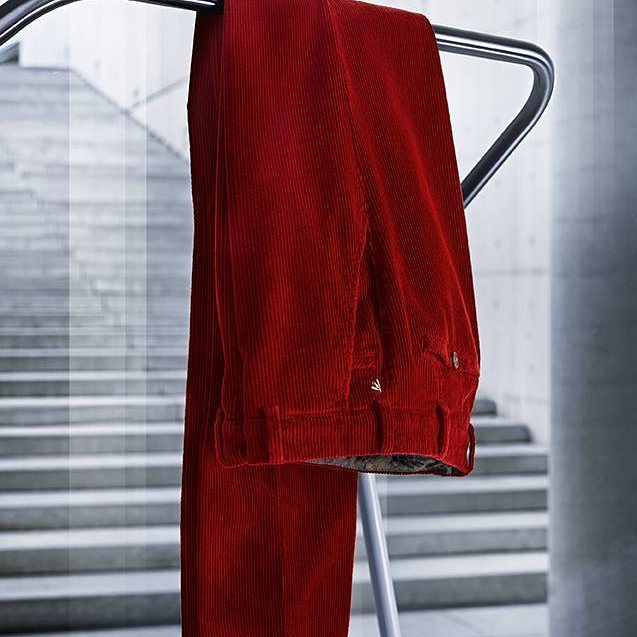 Autumn/Winter 2017/18 Meyer Pima Cotton Red Cord trousers.  Tread the boards in a pair of cords