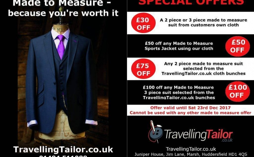 Black Friday offers come a week early and stay longer on made to measure suits and jackets from TravellingTailor  http://ow.ly/dDe630gDV3t Tel 01484 511088