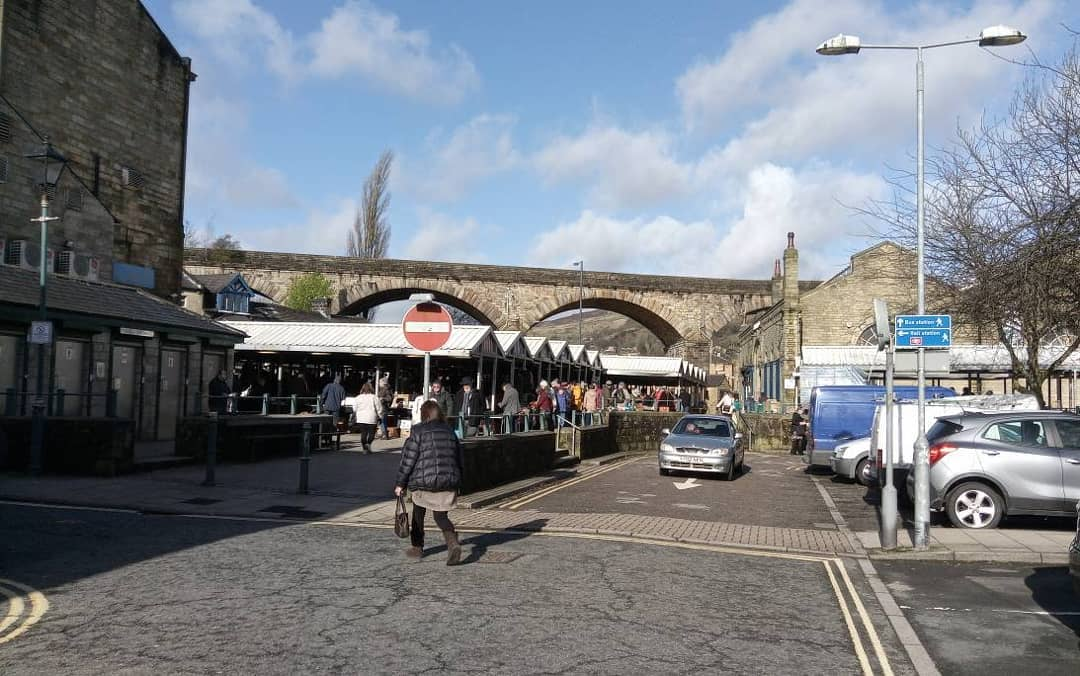 My office today, Todmorden on market day, fittings for Made to Measure and Ready to Wear suits