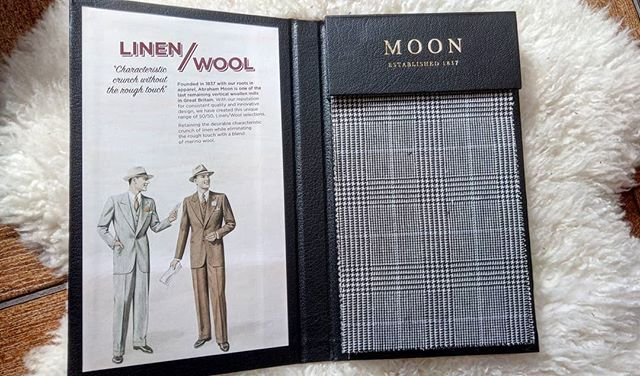 Linen/Wool mix by Moon's (Bradford). Characteristic crunch without the rough touch !  Available in Prince of Wales checks, strips and plains. Fantastic for suits with that 50's inspired double breasted look