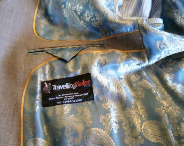 Blue & Gold premium Paisley lining with old gold piping, piano facings, buttoned & tabbed security fastening on breast pocket hidden by flap, contrast blue and white candy stripped sleeve linings.  And that is only the inside of the jacket