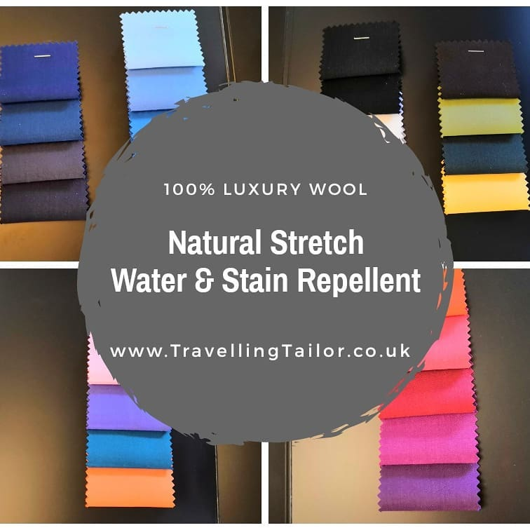 The latest addition to the TravellingTailor.co.uk cloth ranges.  28 shades of Luxury Wool with natural stretch. It's both water and stain repellent naturally.  The cloth is perfect for a work suit, stagewear or a tuxedo.  Which shade is your favourite?