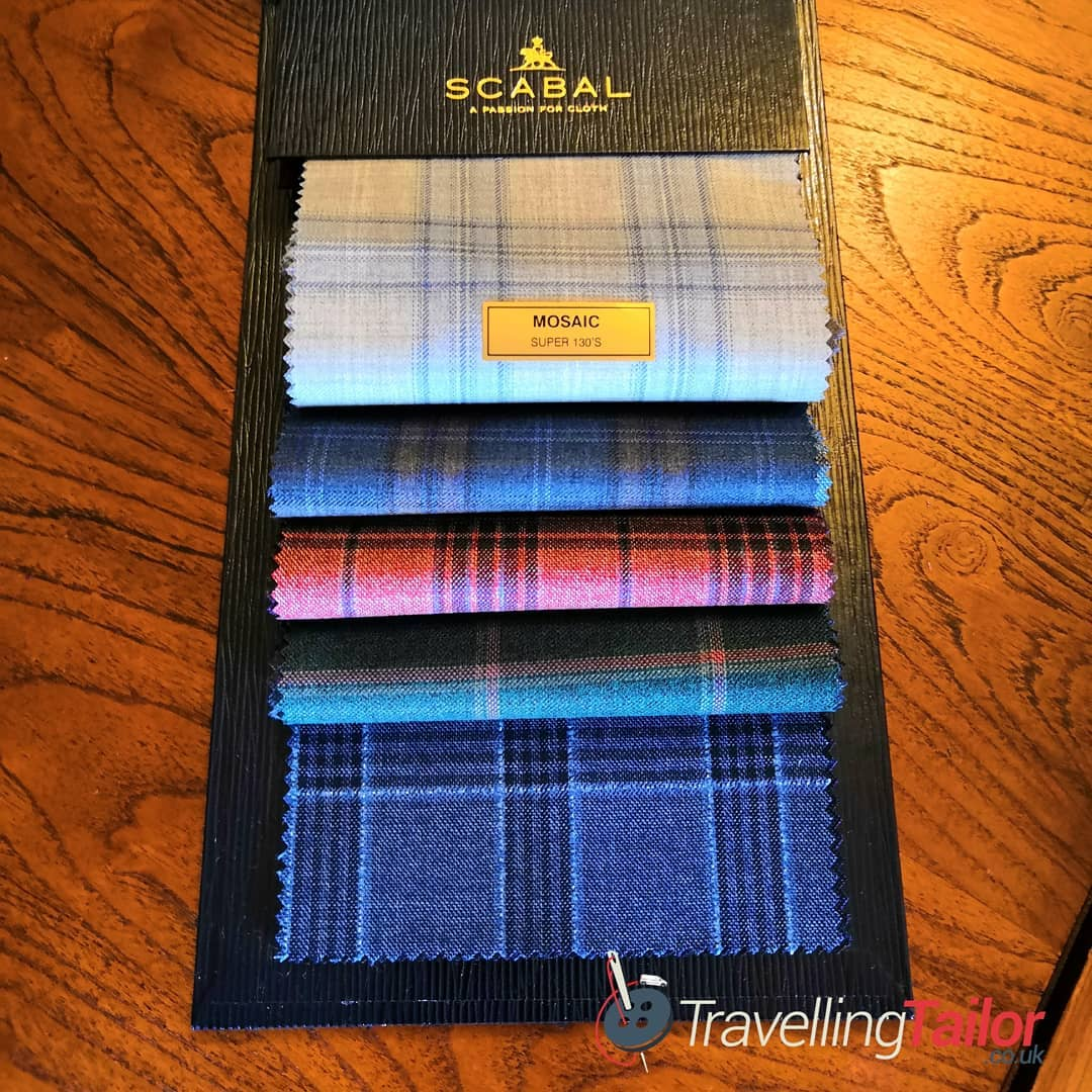Mosaic Super 130's Spring/Summer jacketings by Scabal. 'As the name suggests, this collection is a celebration of the detail that goes into creating a check, starting with one small panel and expanding it until the final pattern is revealed.' 'The light summer palette stretches from light beige and greys through fresh greens, sun-kissed reds and a mix of ocean blues.' 'The finished result is a fine twill made from very fine yarn giving a superior finish and a good construction, ideal for jacket tailoring.' 100% Wool, Super 130's, 240 gr, stunning cloths for that special Spring/Summer made to measure sports jacket 130's