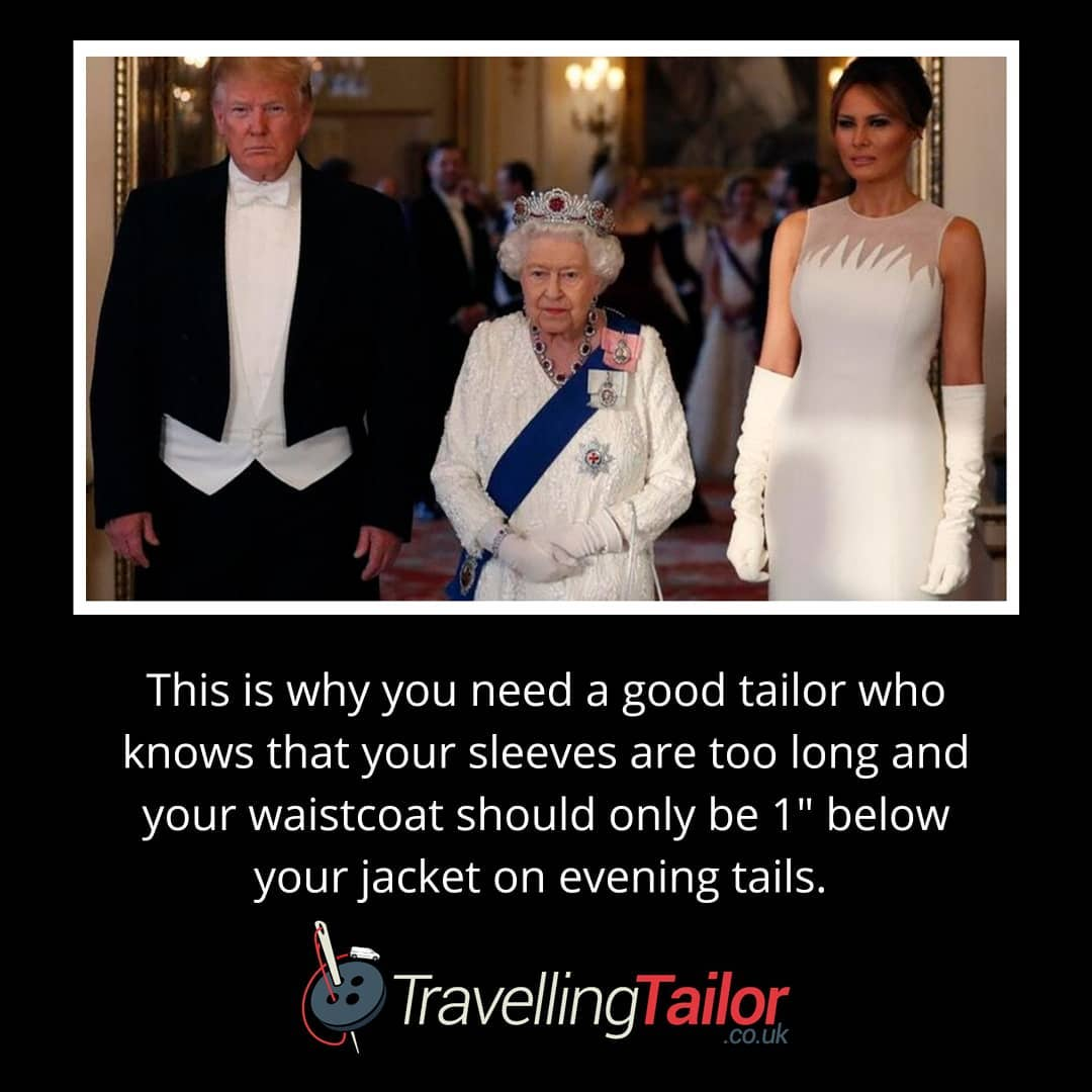 When you are granted a State Visit and your wife dresses beautifully, you really should visit a good tailor.  Your sleeves are too long and the waistcoat should sit no more than 1″ below your tailcoat.  I guess someone didn't get the memo